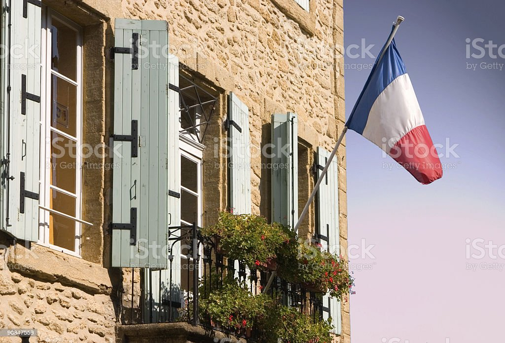 French flag on building royalty-free stock photo