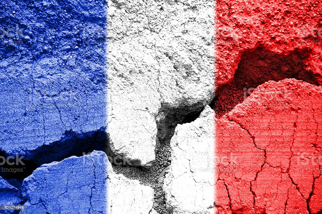 French flag on cracked texture background stock photo