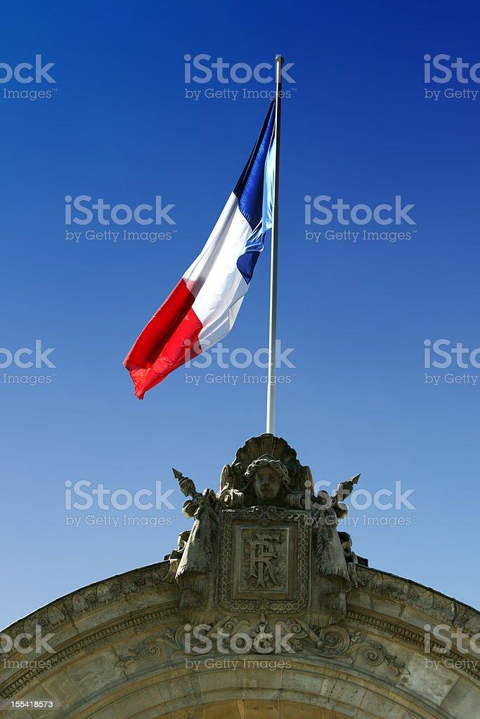 French Flag on Government Building Entrance: Palais de l'?lys?e stock photo