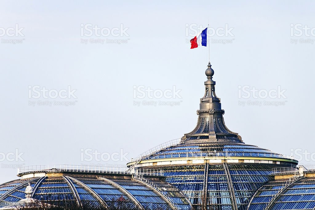 french flag on Great Palace in Paris stock photo