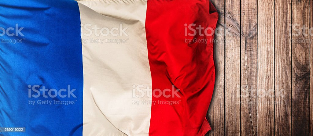 french flag on wood with copyspace stock photo