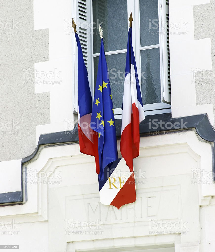 French Flag over Mairie office royalty-free stock photo