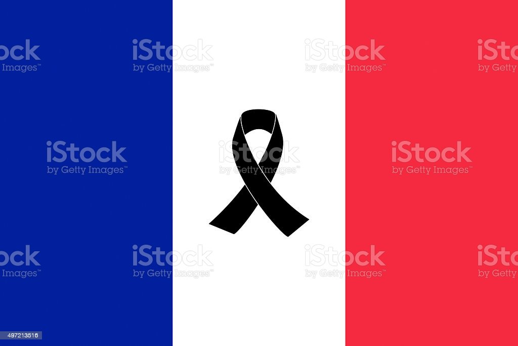 French Flag with black ribbon stock photo