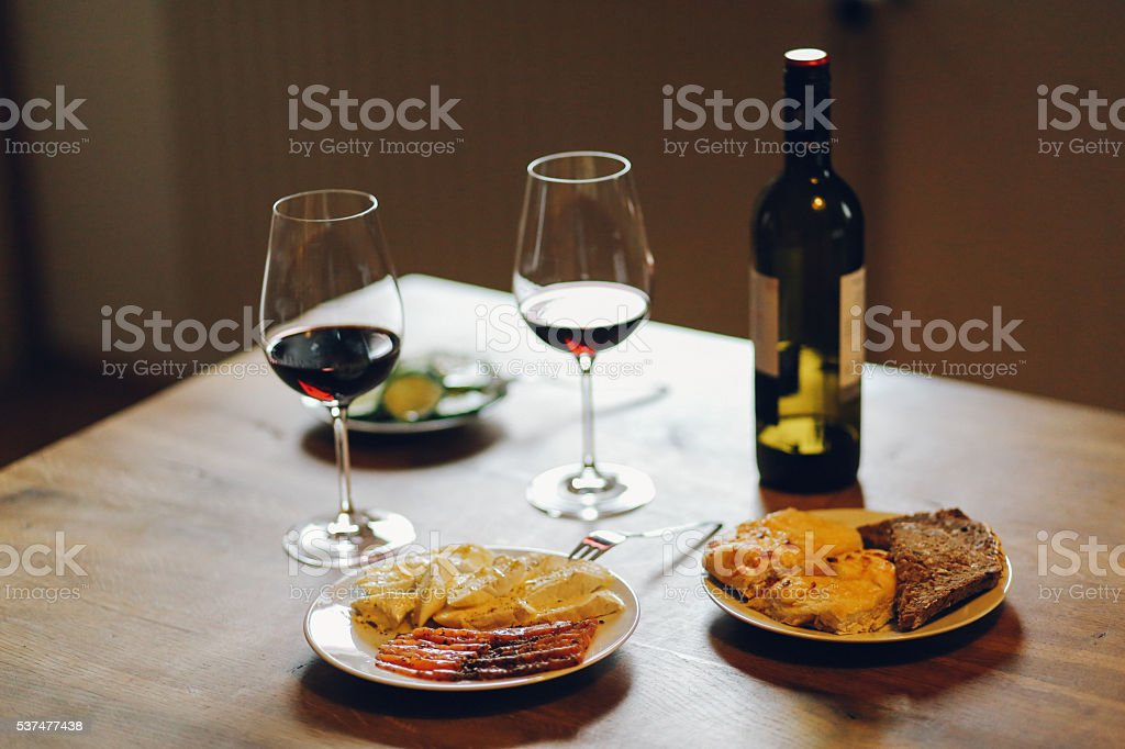 French food on the wooden table stock photo