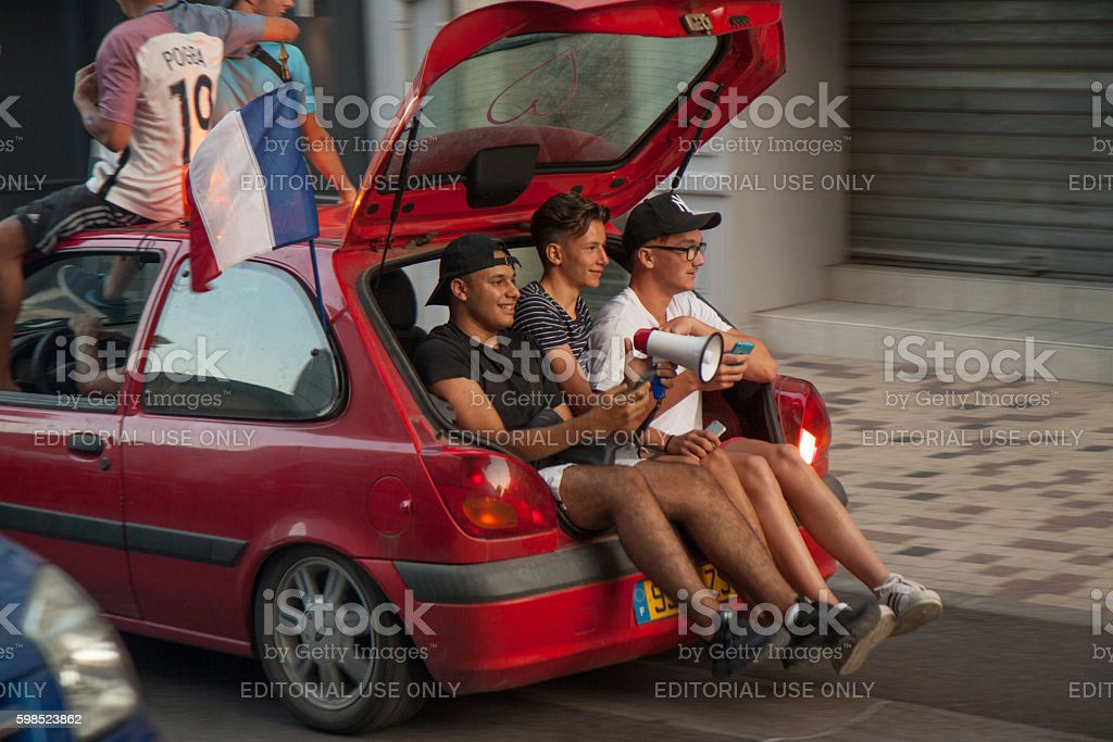 French football fans in a car stock photo