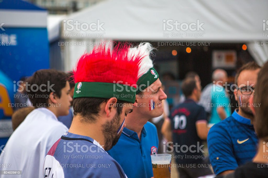 French football fans support national-team at european cup lille france stock photo