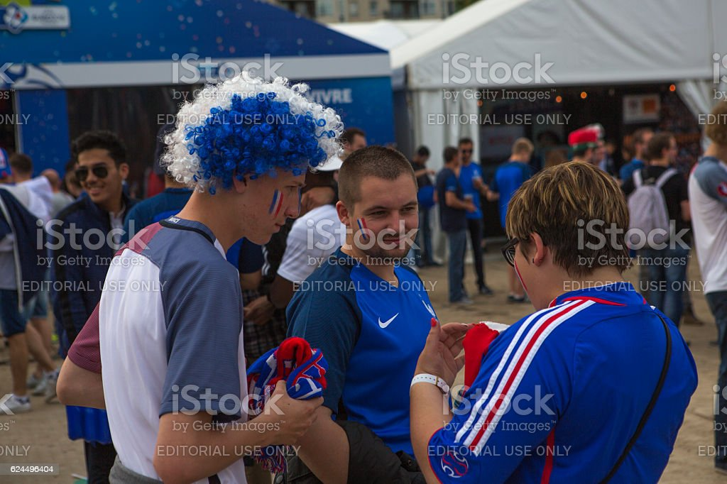 French football fans waiting  nationalteam at european cup  lille france stock photo