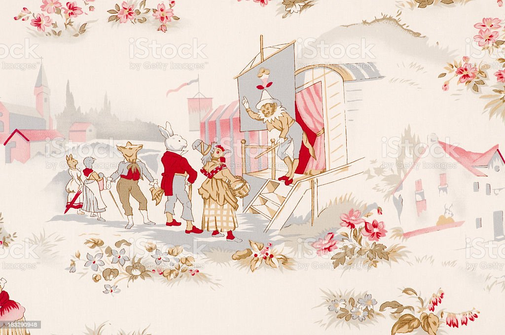 French Fox Circus Close Up Vintage Fabric stock photo
