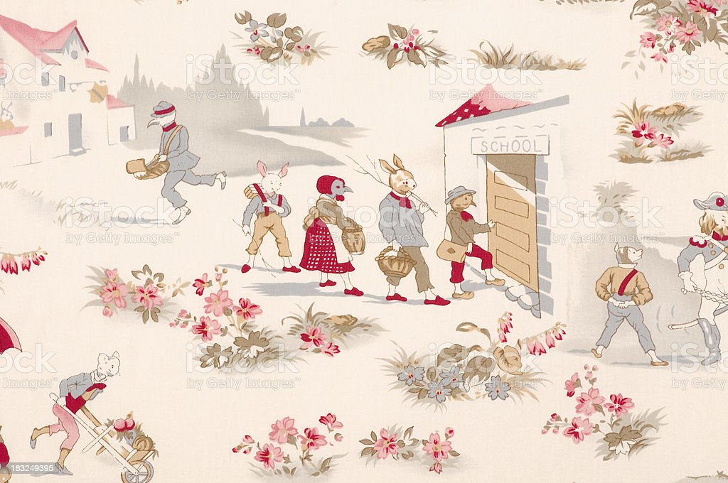 French Fox Going to School Close Up Vintage Fabric stock photo