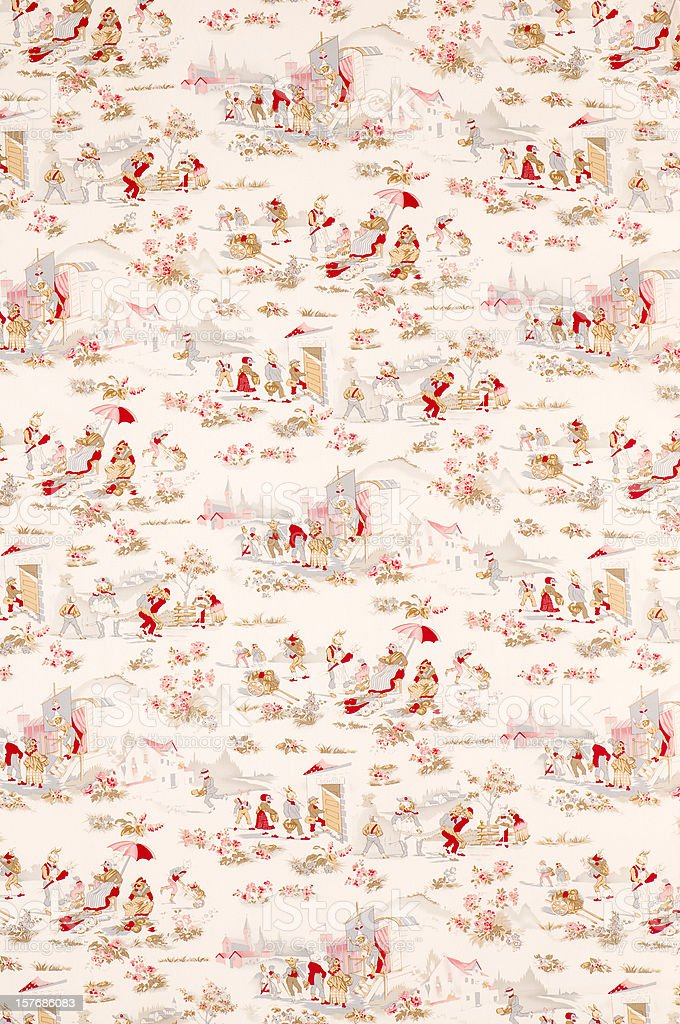 French Fox Wide Vintage Fabric stock photo