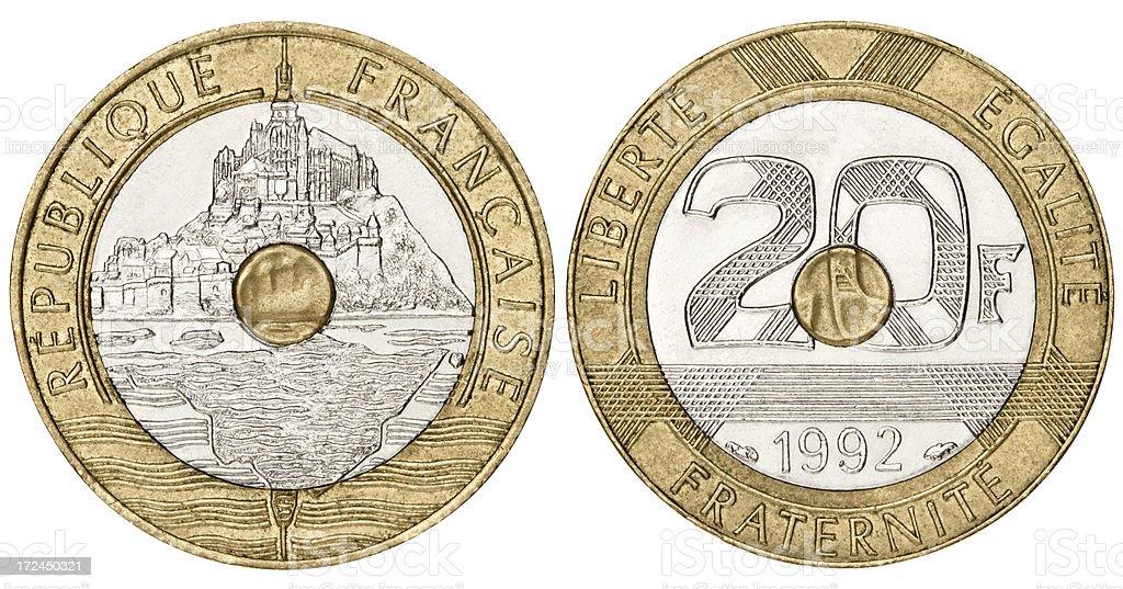 French Franc on white background royalty-free stock photo