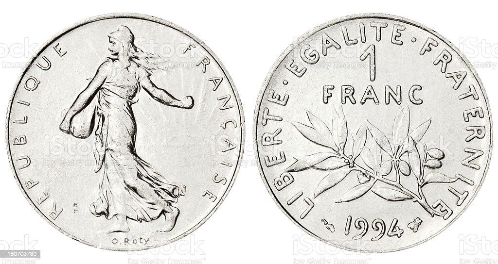French Franc on white background stock photo