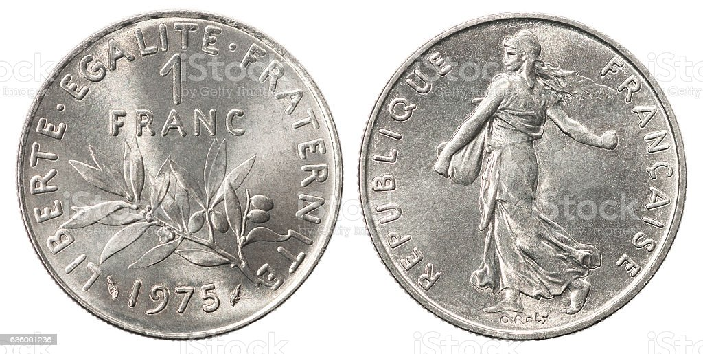 French franc silver coin stock photo