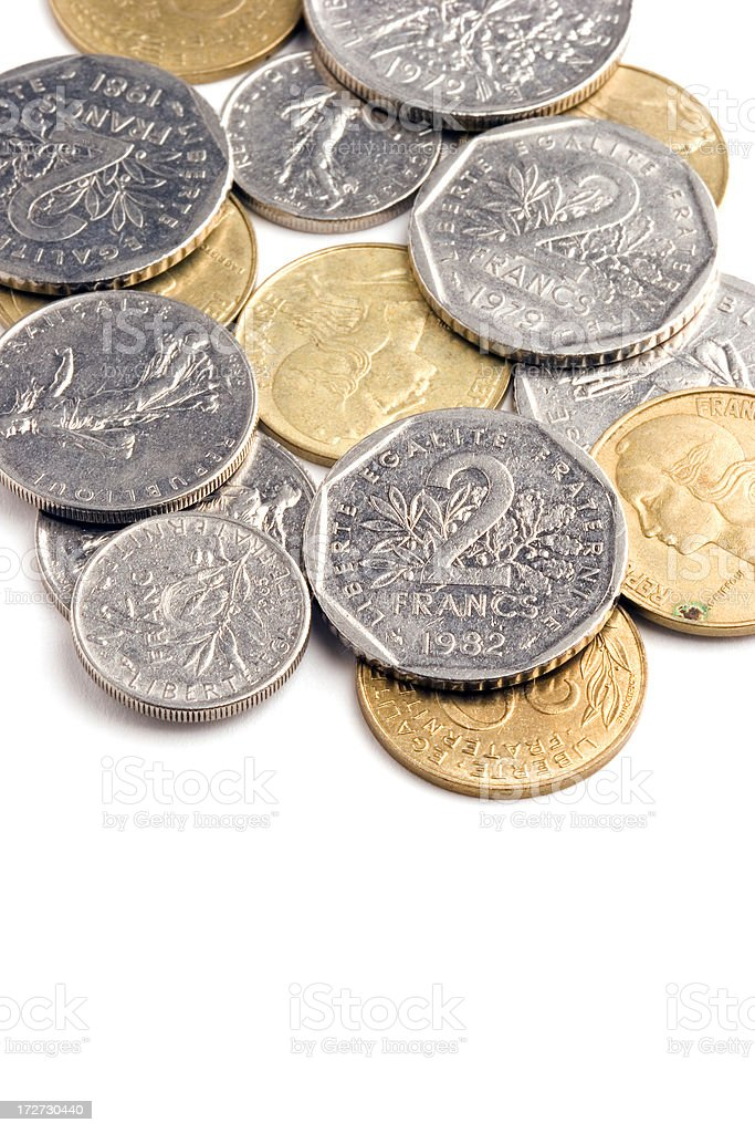 French francs and centimes stock photo