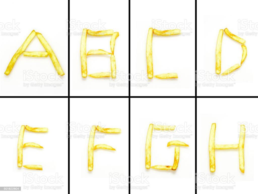 french fries Alphabet XXXL stock photo