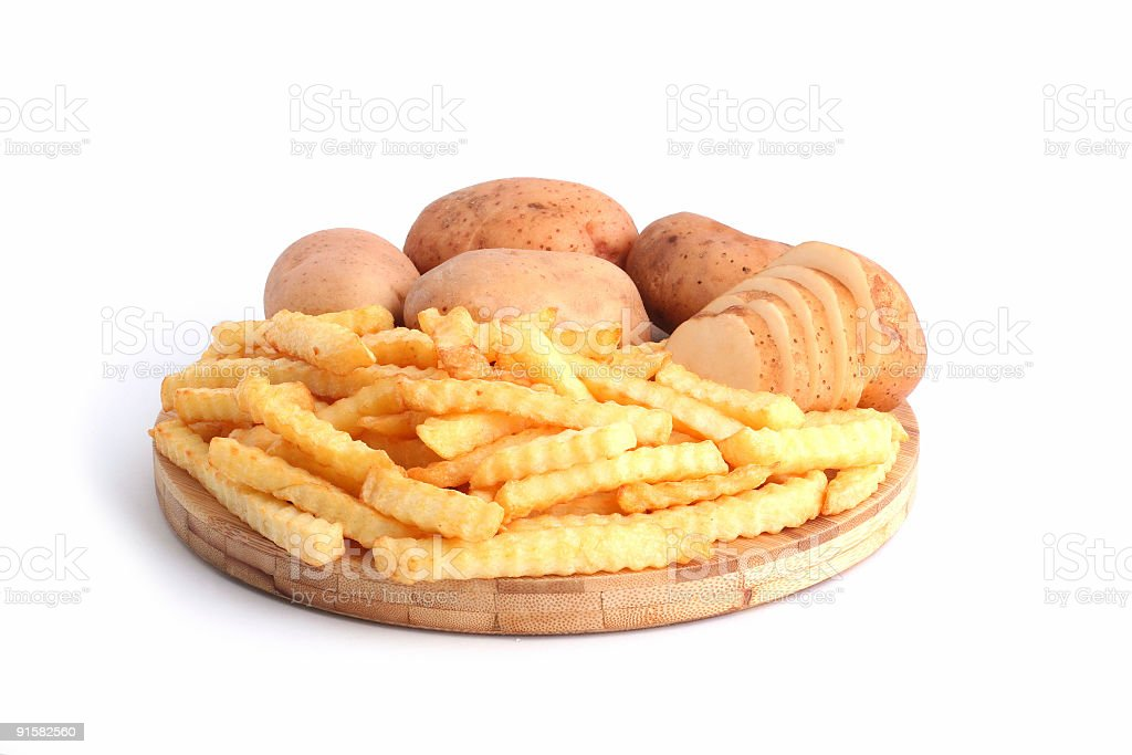 French fries and potatoes royalty-free stock photo