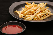 French fries and tomato sauce