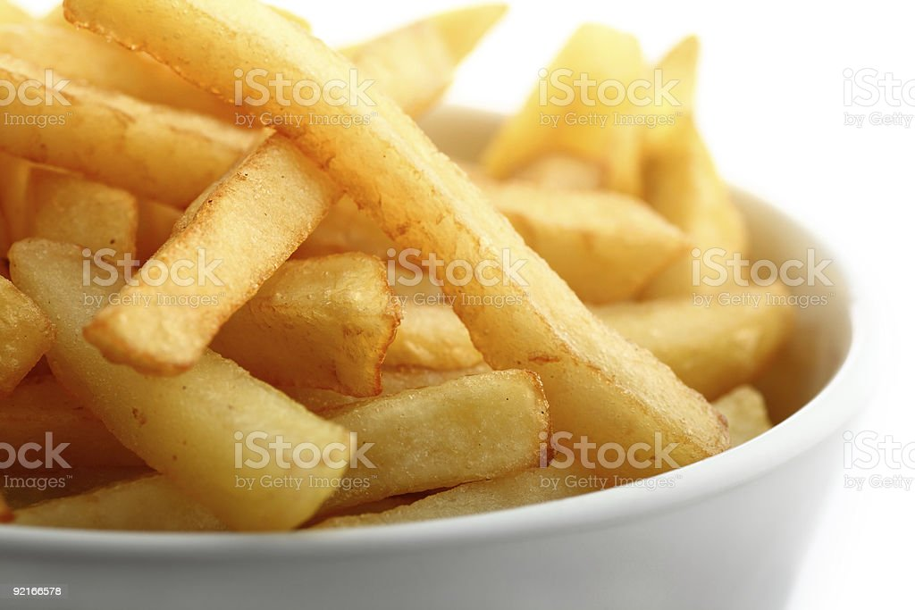 French fries detail isolated on white stock photo