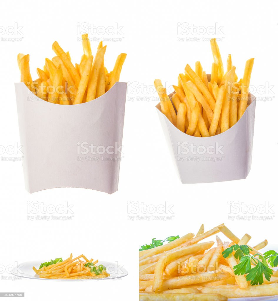 french fries in different portions stock photo