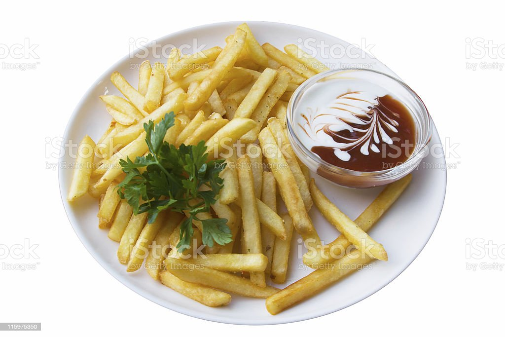French fries, isolated on white, with clipping path stock photo