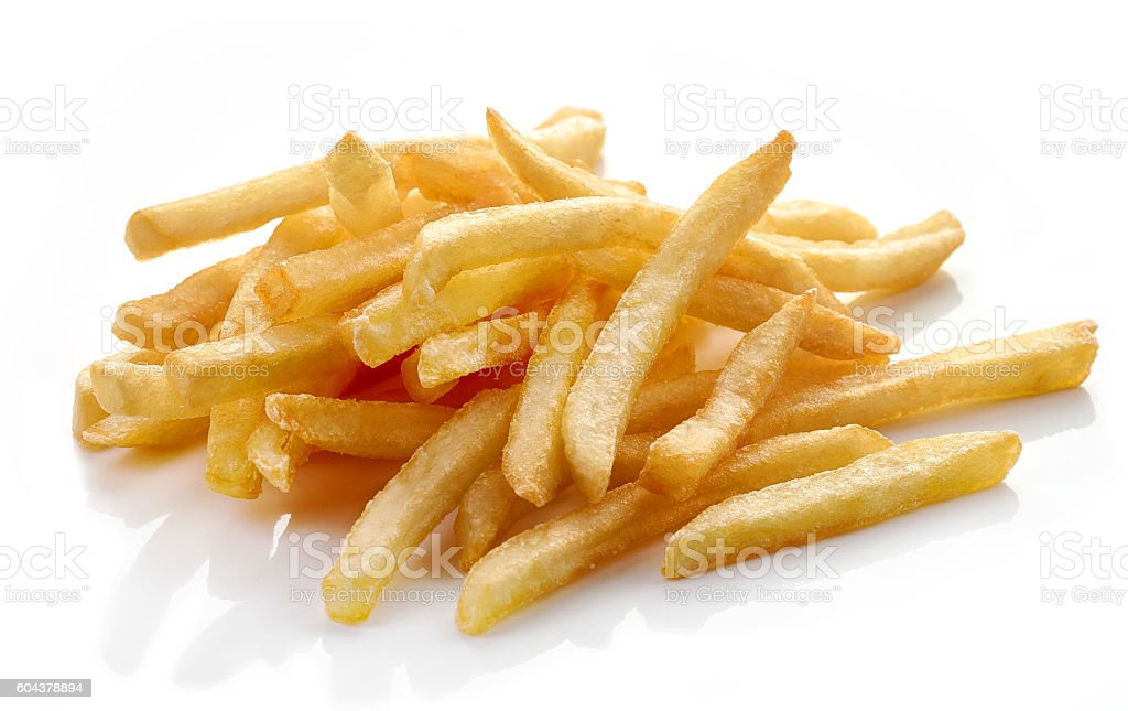 french fries on white background stock photo