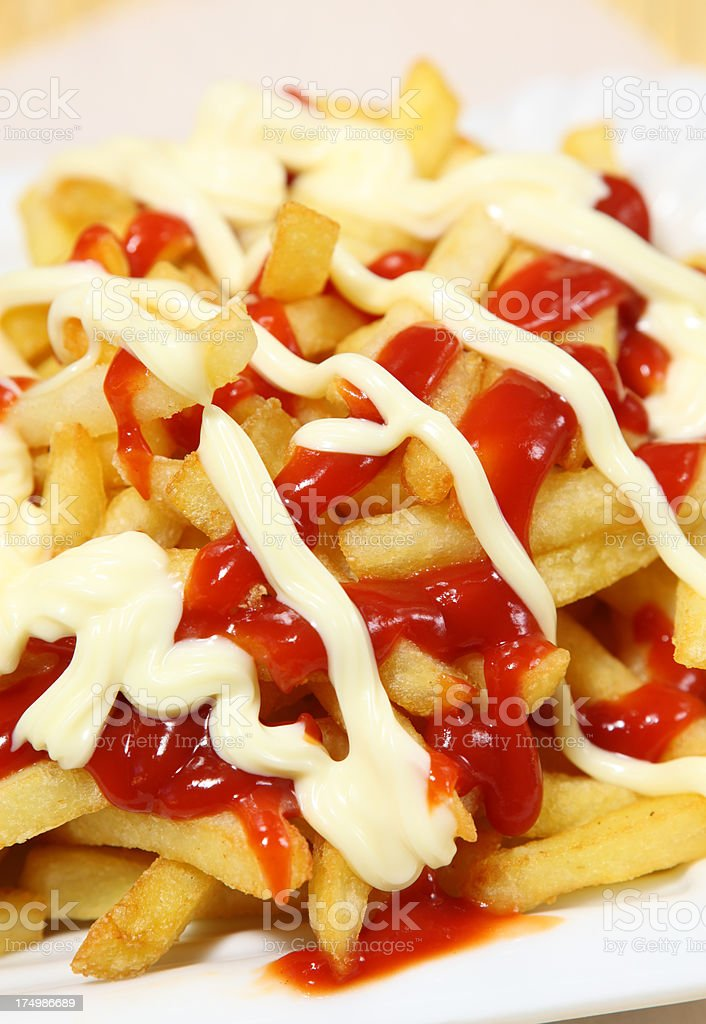 French Fries or Pommes Rot Weiß royalty-free stock photo