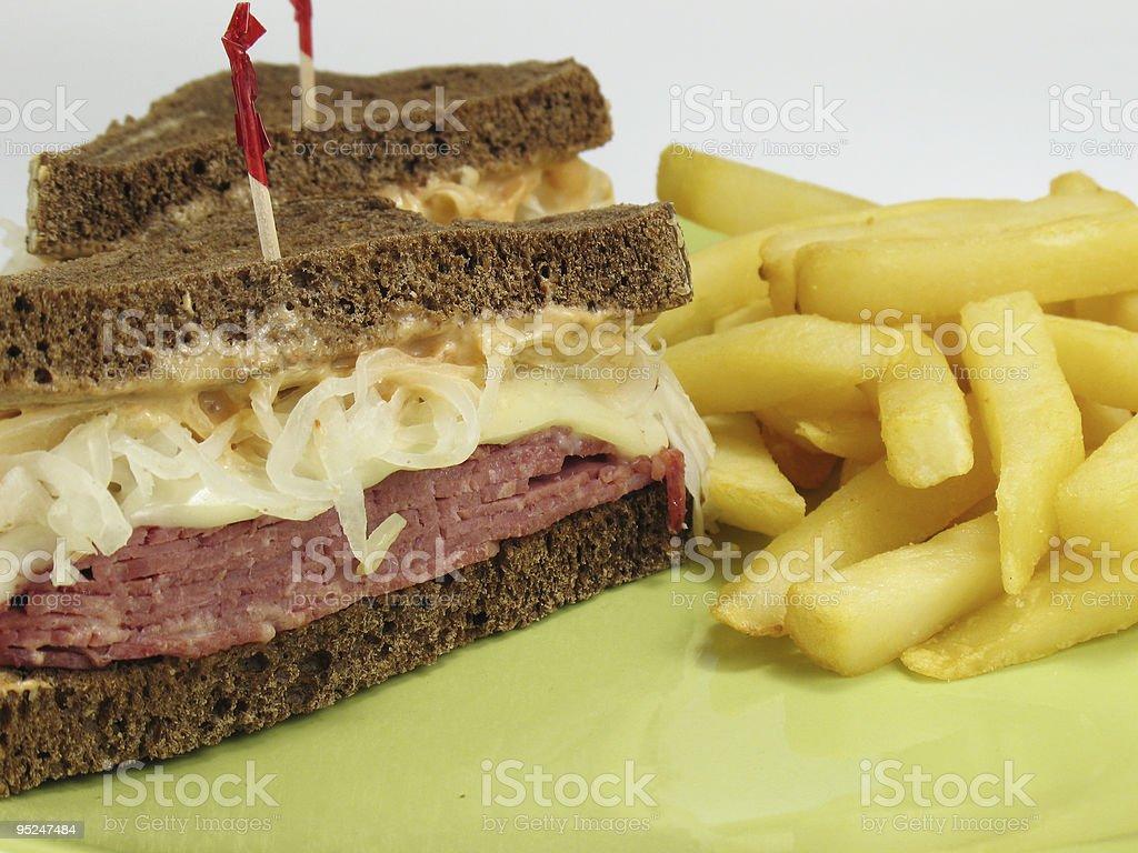 French Fries & Reuben stock photo