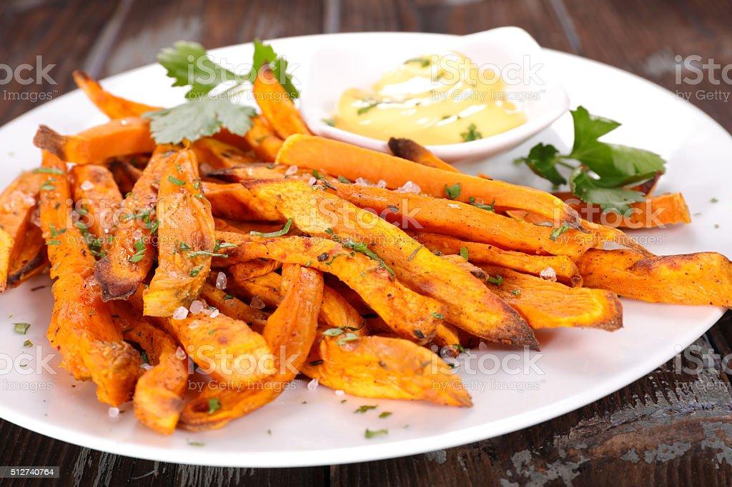 french fries sweet potato stock photo
