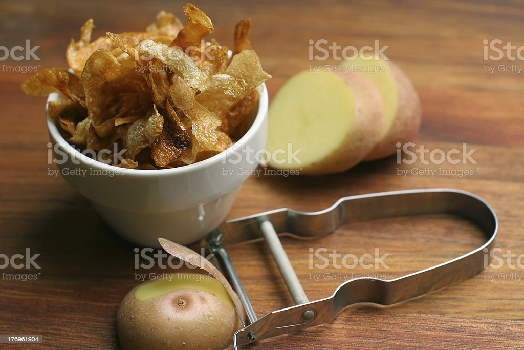 french fries; wide view and layout space stock photo