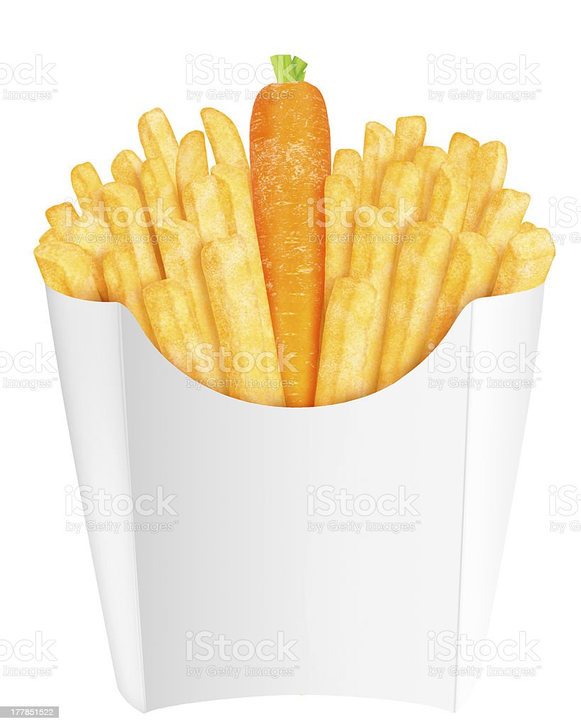 French fries with carrot put between them royalty-free stock photo