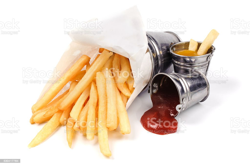 French fries with catchup and mustard stock photo