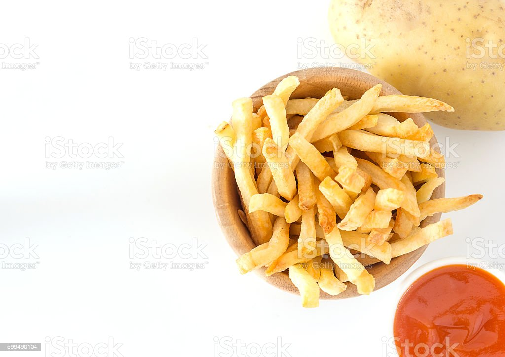 French fries with ketchup and potato. stock photo