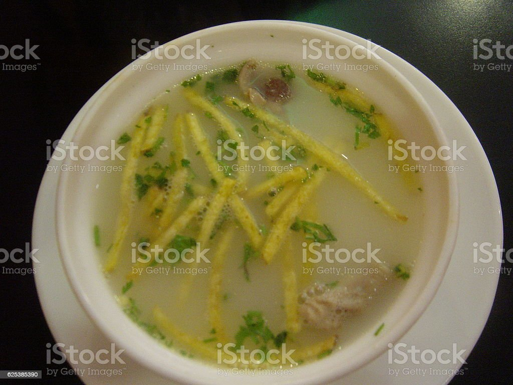 french fry and chicken soup stock photo