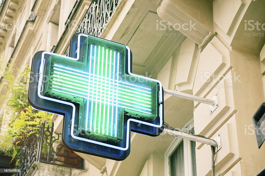 French generic drugstore neon sign stock photo