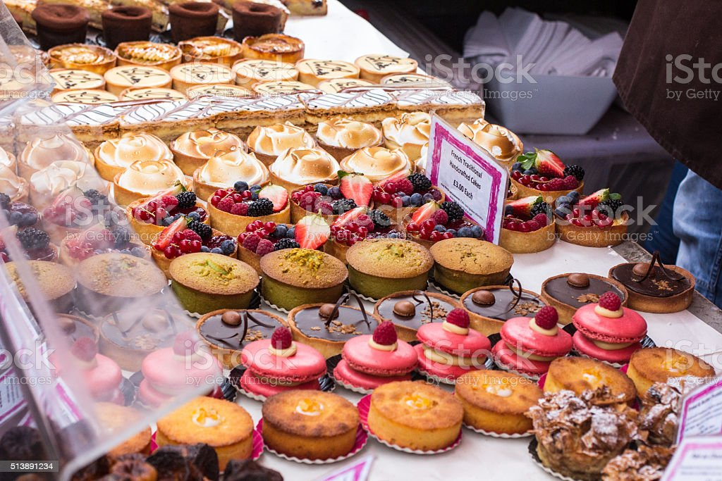 French Handcrafted Cakes in Borough Market, London stock photo