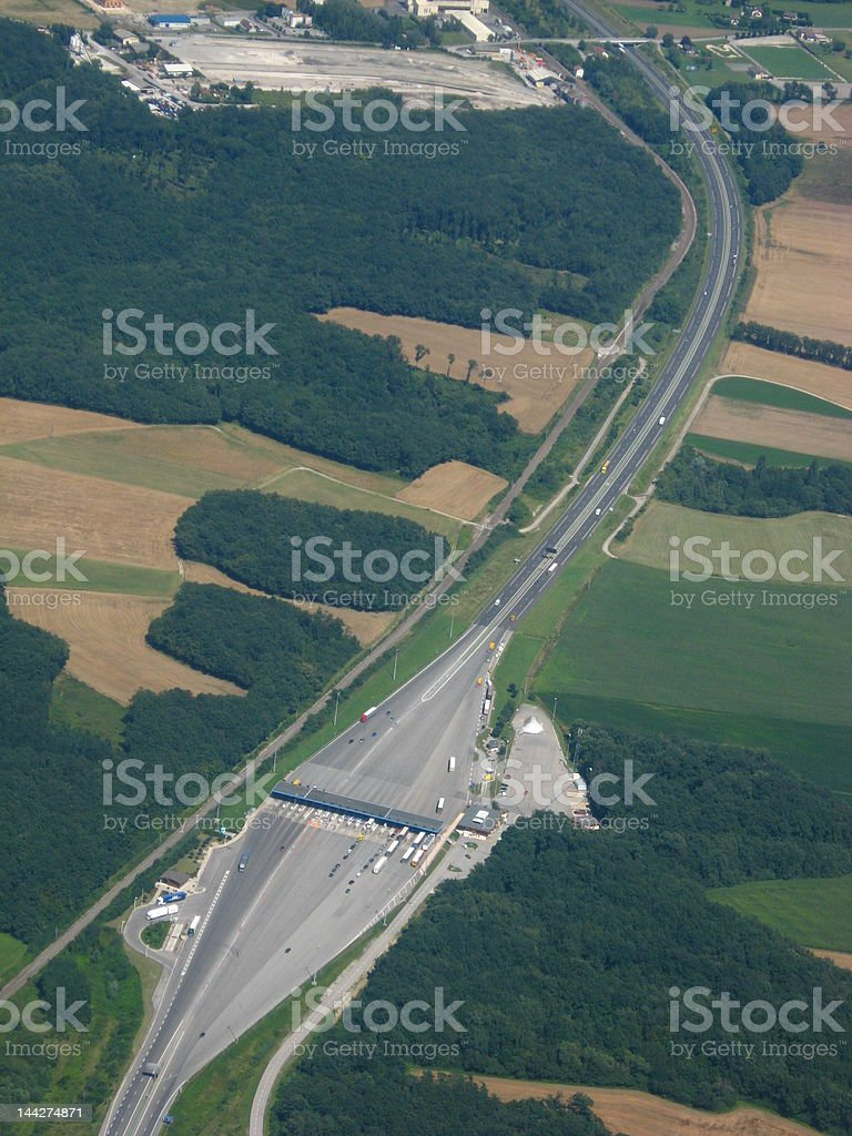 French highway toll from plane stock photo