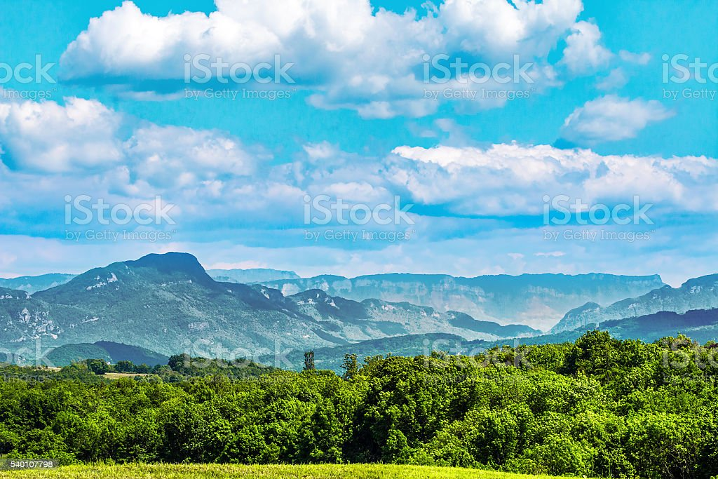 French hilly landscapes of the Jura mountains chain by summer stock photo