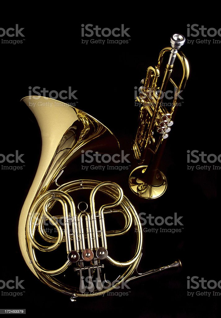 French Horn and Trumpet stock photo