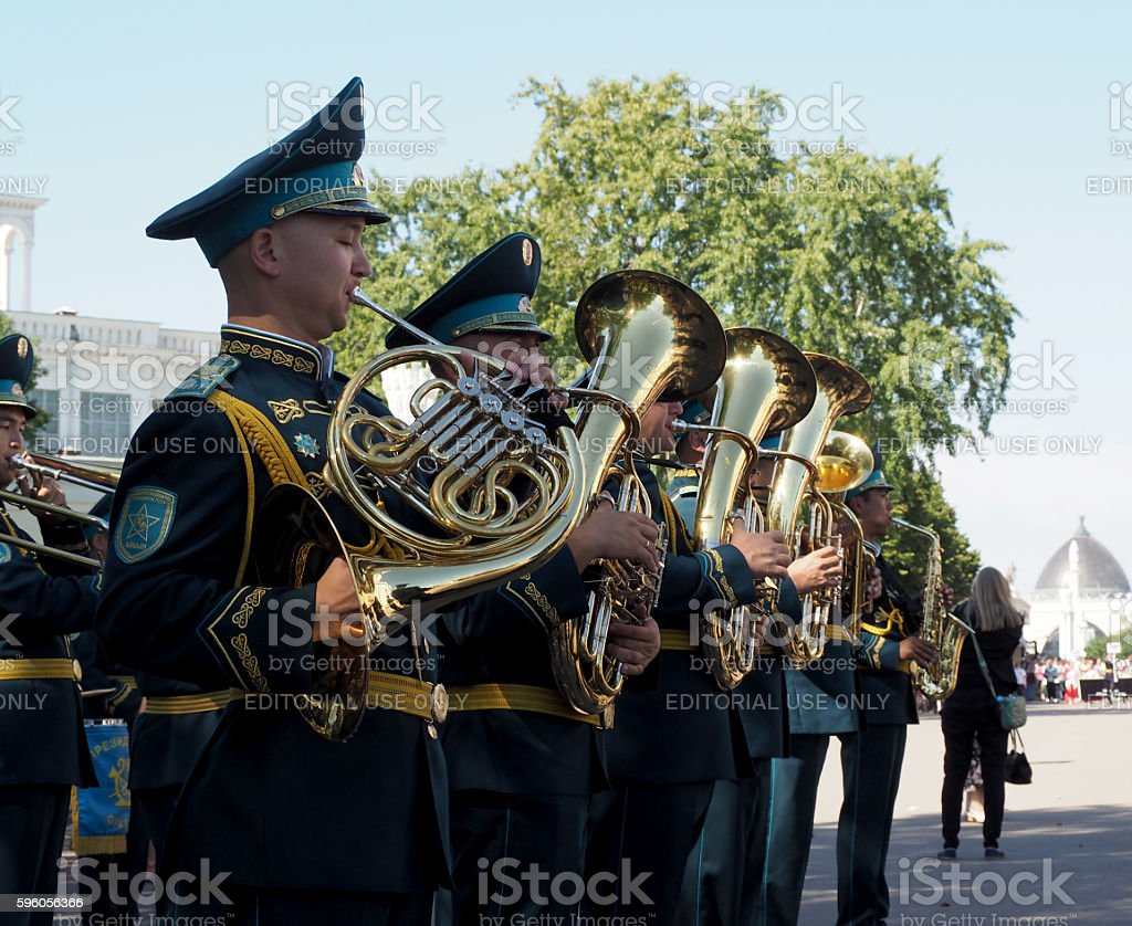 French horn and tuba stock photo