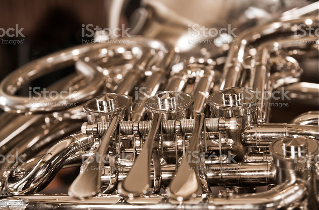 French Horn Close up stock photo