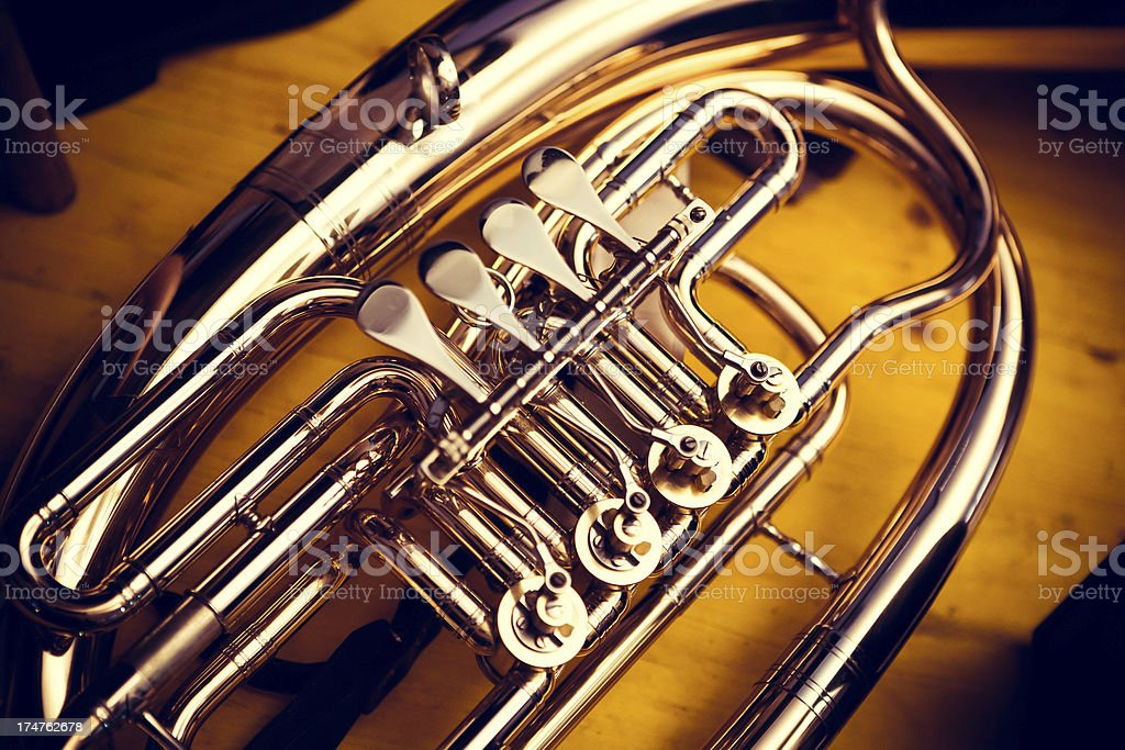 French Horn detail stock photo