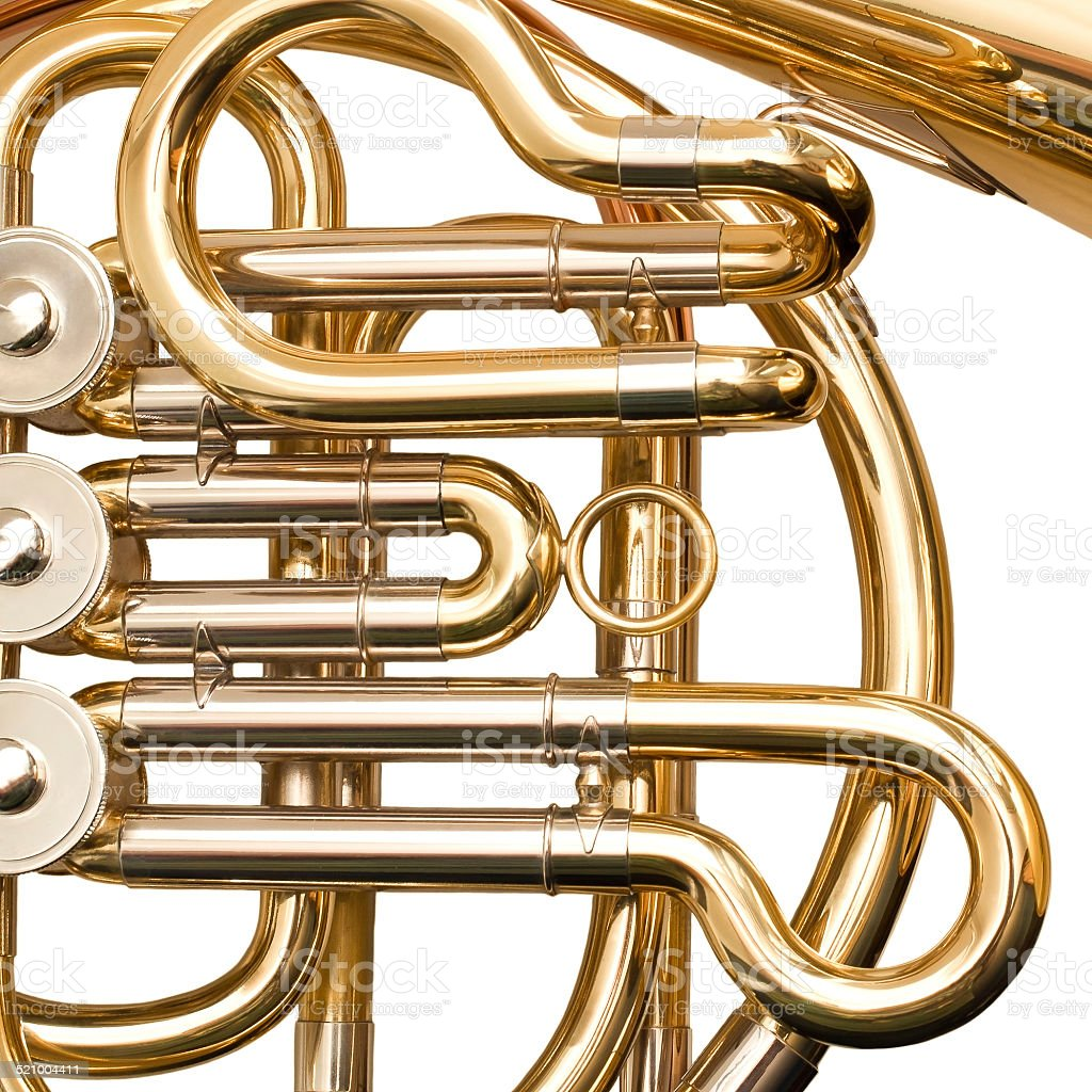 French horn fragment closeup stock photo