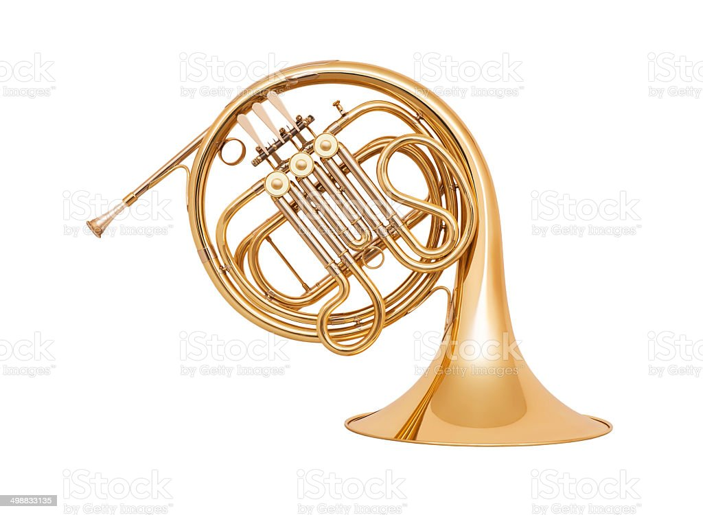 French horn isolated on white background stock photo
