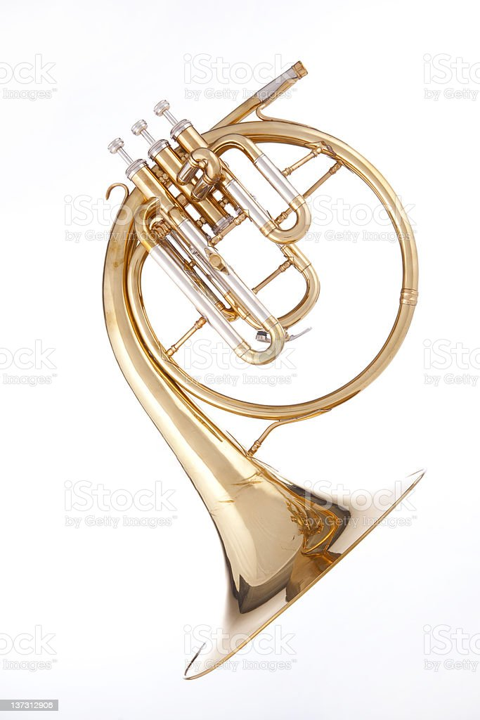 A French horn isolated on white stock photo