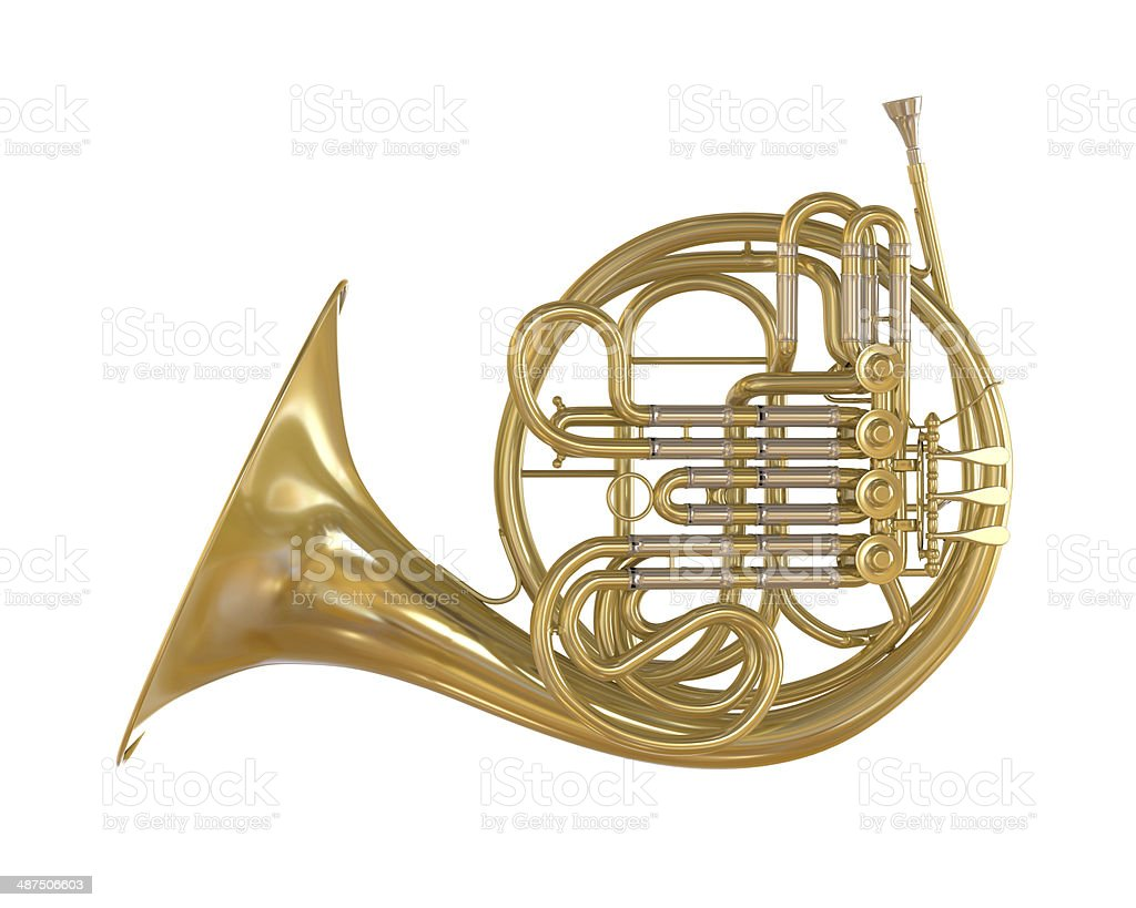 French Horn Isolated stock photo
