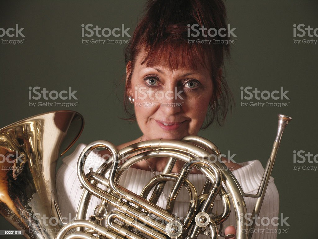 French horn lover royalty-free stock photo