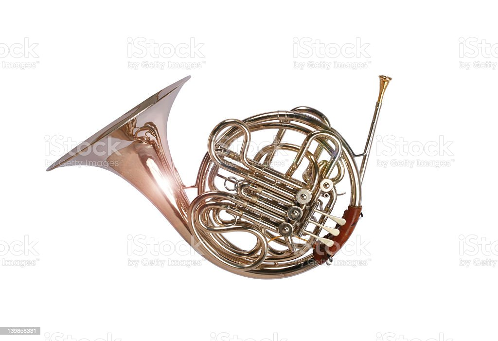 A French horn on white background royalty-free stock photo
