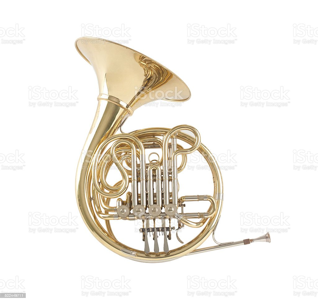 French horn stock photo