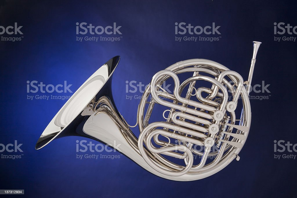 French Horn Silver Isolated On Blue stock photo