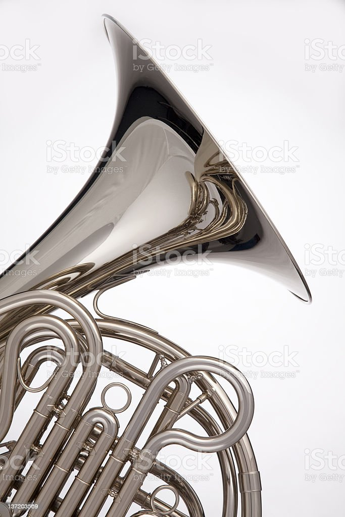 French Horn Silver Isolated On White stock photo